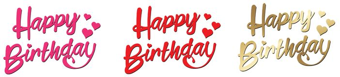 Free Happy Birthday Lettering Pink Red Gold With Hearts Stock Images - 129880104