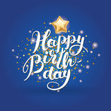 Happy Birthday Lettering Sky Stock Images