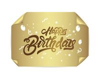 Happy Birthday in lettering style on gold realistic paper. Handwritten modern brush lettering. Vector illustration design vector illustration