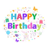 Happy Birthday lettering text. Colorful poster design greeting card vector illustration Royalty Free Stock Photo
