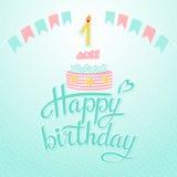 Happy birthday. Lettering happy birthday on white background.Illustration Stock Photos