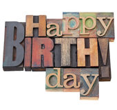 Happy Birthday in letterpress type Royalty Free Stock Images