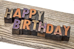 Happy birthday in letterpress wood type Stock Images