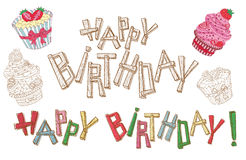 Happy birthday letters and cakes Stock Photography