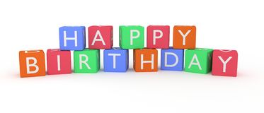 Happy birthday letters and words rendered on cubes. royalty free illustration