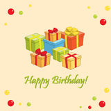 Happy birthday - light vector card with gifts Royalty Free Stock Image