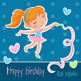 Adorable little ballerina with ginger hair - birthday card, invitation... Happy birthday - little ballerina - for invitations or greeting cards Stock Photos