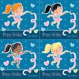 Happy birthday little ballerina - set of four birthday cards. Adorable cartoon illustration - Happy birthday little ballerina - Set of four greeting cards - blue stock illustration