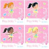 Happy birthday little ballerina - set of four birthday cards stock illustration