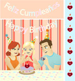 Happy Birthday Little Girl. A little girl celebrating her birthday in company of her parents Royalty Free Stock Photos