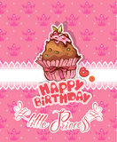 Happy birthday, little princess - holiday card for girl Stock Images