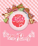Happy birthday, little princess - holiday card for girl Stock Image