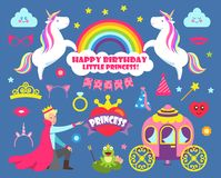 Happy Birthday Little Princess Party Set Vector