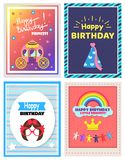 Happy Birthday Little Princess Set of Cute Posters. Vector illustration with abstract girls face, beauty carriage, rainbow on cloud and festive hat Stock Photo