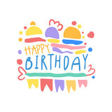 Happy Birthday logo colorful hand drawn vector Illustration Stock Images