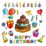 Happy birthday logo and party symbols Stock Image