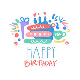 Happy Birthday logo template colorful hand drawn vector Illustration Royalty Free Stock Photos