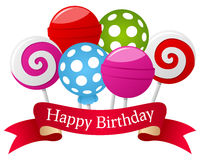 Happy Birthday Lollipop & Ribbon. Happy birthday banner with six colorful sweet lollipop and a red ribbon. Eps file available Royalty Free Stock Photo