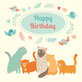 Happy Birthday lovely card with cute cats and birds. Vector illustration, cute cartoon animals, greeting cards with text on clouds Stock Photography
