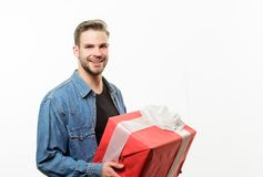 Happy birthday. Man share present. Handsome macho man. Love date. Romantic greeting. Boxing day. unshaven man with. Present box. Valentines day gift. Male royalty free stock images