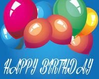 Happy birthday. With many balloon Royalty Free Stock Images