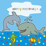 Happy birthday-marine life Royalty Free Stock Photo