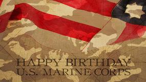 Happy Birthday Marines Flag. And Camouflage Background Royalty Free Stock Image