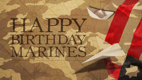 Happy Birthday Marines Flag Camouflage Background Paper. Boat and Plane Royalty Free Stock Photos