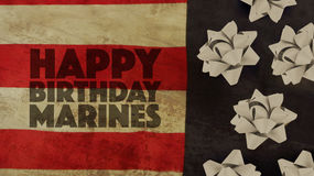Happy Birthday Marines Ribbons. Happy Birthday Marines Flag and Ribbons royalty free stock photos