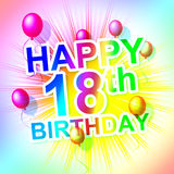 Happy Birthday Means Congratulation Celebrate And Greetings. Happy Birthday Representing Celebrations Eighteenth And Parties vector illustration