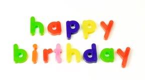 Happy birthday message. Fridge magnet happy birthday message Royalty Free Stock Photo