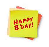 Happy birthday message on adhesive note Stock Image