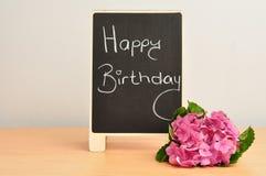 Happy birthday message and hydrangeas Stock Images