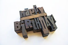 Happy birthday message with letterpress Stock Image