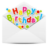 Happy Birthday message. In a mail Stock Photography