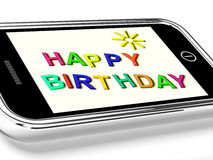 Happy Birthday Message On Mobile Phone Stock Photography