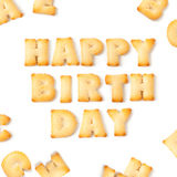 Happy birthday message written with homemade biscuits Stock Photography