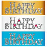 Happy birthday metallic shine words symbol label image logo vector. Happy birthday gold metallic shine words symbol label image vector concept icon background Royalty Free Stock Image