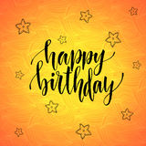 Happy birthday. Modern calligraphy on orange creative background. Vector greeting card Royalty Free Stock Image