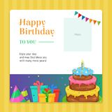 Happy Birthday Modern Invitation Card template with Birthday Cake and Gift Box Illustration. Vector EPS10 royalty free illustration