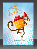 Happy Birthday with monkey gift Stock Image