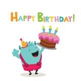 Happy Birthday Monster. Cute little monster with birthday cake vector illustration