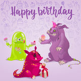 Happy Birthday monsters card. Royalty Free Stock Image