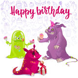 Happy Birthday monsters card. Royalty Free Stock Photo