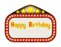 Happy Birthday Theatre Marquee On White. A happy birthday movie theater or theater marquee with copy space for name as required Stock Photos