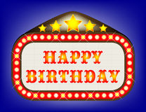 Happy Birthday  Movie Theatre Marquee Royalty Free Stock Photo