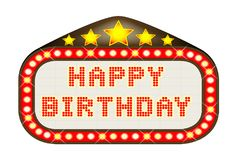 Cinema Marquee Happy Birthday Isolated On White. A Happy Birthday movie theatre or theatre marquee Royalty Free Stock Photography