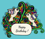 Happy birthday multicolor greeting card with two bird Royalty Free Stock Image