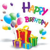 Happy birthday with Multicolored gift box on white background. Royalty Free Stock Images