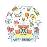Happy birthday multicolored greeting card with big cake. Outline minimalistic design. Stock Images